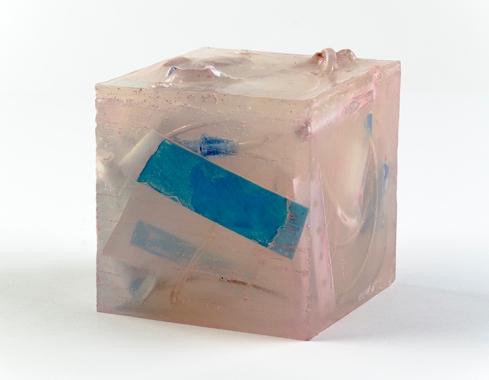 "Untitled (Ghost Cube) Medical Ephemera & Resin, 4""x4""x4"", 2015"