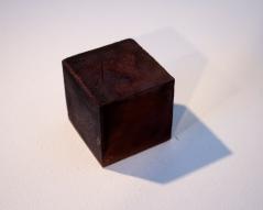 "Untitled (Burnt Cube) Medical Ephemera & Resin 3""x3""x3"" 2015"