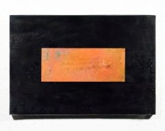 Confessional Haiku Painting 1, 2017 Rust, Haiku, Copper, Burns, Wood, Resin, 12 x 18 inches