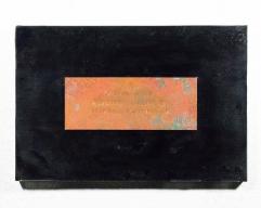 Confessional Haiku Painting 2, 2017 Rust, Haiku, Copper, Burns, Wood, Resin, 12 x 18 inches