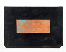 Confessional Haiku Painting 3, 2017 Rust, Haiku, Copper, Burns, Wood, Resin, 12 x 18 inches