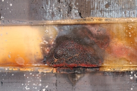 "Interior Void 1 (detail) 48"" x 48"" Burns, Acrylic, Resin, Nails, Dirt on Wood 2014"