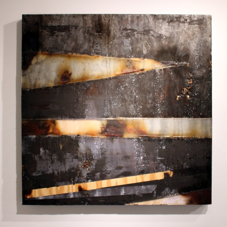 "Interior Void 1 48"" x 48"" Burns, Acrylic, Resin, Nails, Dirt on Wood 2014"