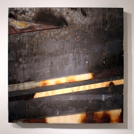 "Interior Void 2 48"" x 48"" Burns, Acrylic, Resin, Nails, Dirt on Wood 2014"