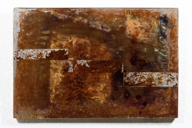 Untitled (112015-042017), 2017 Rust, Burns, Image Transfer, Blood, Steel, Wood, Resin, 12 x 18 inches