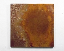 Untitled (Leaking), 2017 Rust, Salt, Resin, Steel on Wood, 24 x 24 inches