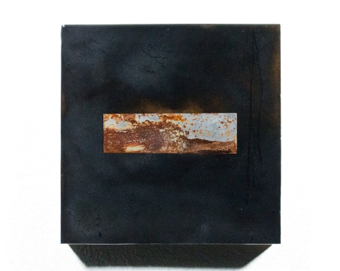 This Is A Piss Test, or Rather Something Far More Poetic (Interior Void 1), 2017 Rust, Burns, Resin, on Wood